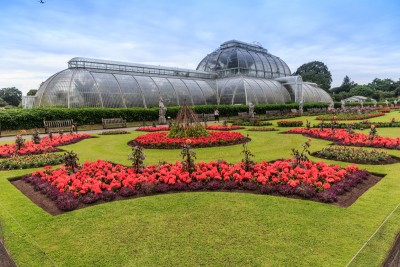 The back of the Palm House in Kew Gardens with neat flower beds and red flowers