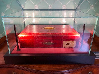 The red despatch box that you can see in the Churchill exhibition in Blenheim Palace