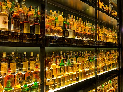 Some of the whiskies you can see as part of your whisky tour Edinburgh - these are part of the world's largest collection of whiskies