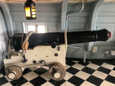 One of the guns inside HMS Victory