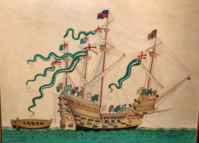 One of the pictures in the museum of how the Mary Rose may have looked before she sank