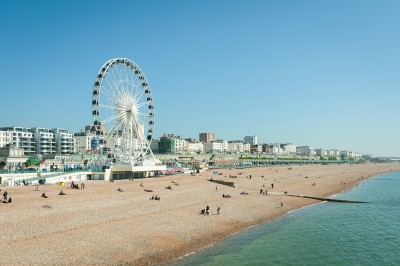 Brighton beach with a big wheel in the background
