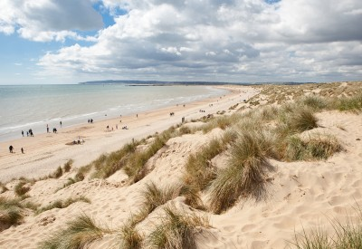 The beach and sand dunes at Camber Sands in Sussex