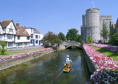 Punting on the river in Canterbury - something to do on one of your day trips from London by train