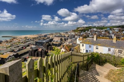 A view across Hastings with the sea in the background