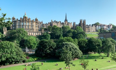 A view from Princes Street Gardens across to some of the buildings in the old town